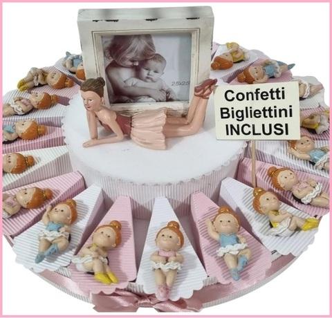 Bomboniera torta classica con elefantini in porcellana