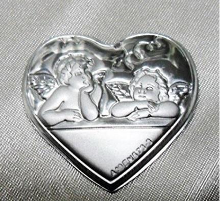 Bomboniera a forma di cuore con angeli 3 pezzi