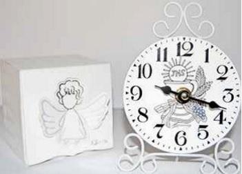 Orologio bianco in metallo classico bomboniera