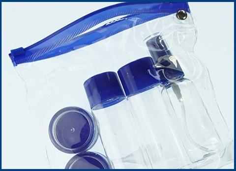 Bottiglie viaggio liquidi color blu