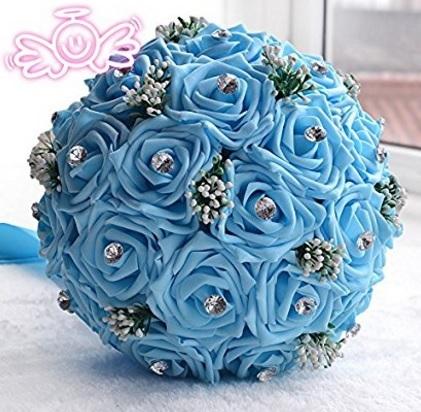 Bouquet azzurro con strass e fiocco artificiale