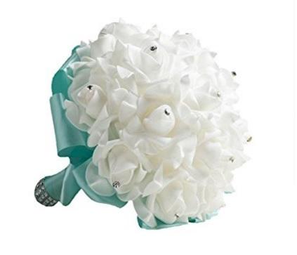Bouquet Nuziale Decorato Bianco E Azzurro