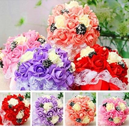 Fiori Artificiali Bouquet Matrimonio Con Cristalli E Perle
