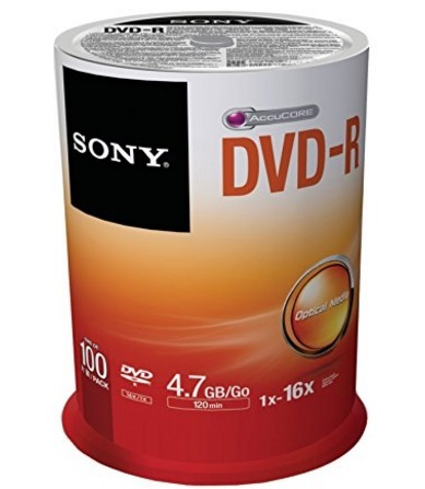 Dvd-r vergini della sony 4,7 di spazio gb