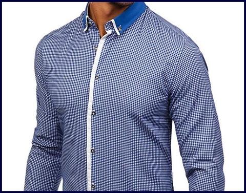 Camicia slim fit azzurra quadretti