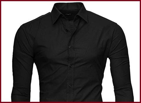 Camicia Slim Fit Uomo Nero