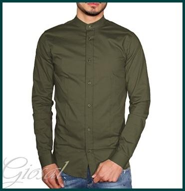 Camicia coreana verde militare uomo