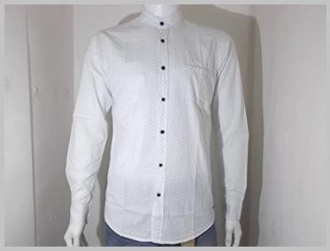 Camicia collo coreana in cotone bianca