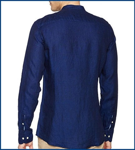 Camicia collo coreana in lino blu