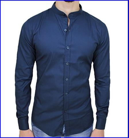 Colletto coreana camicia uomo blu