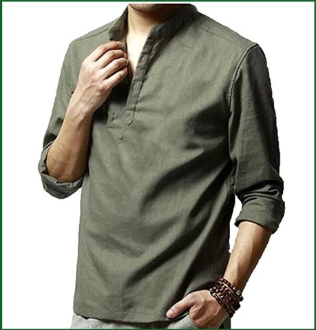 on sale 06841 35677 Camicia lino verde con collo coreana | Grandi Sconti ...