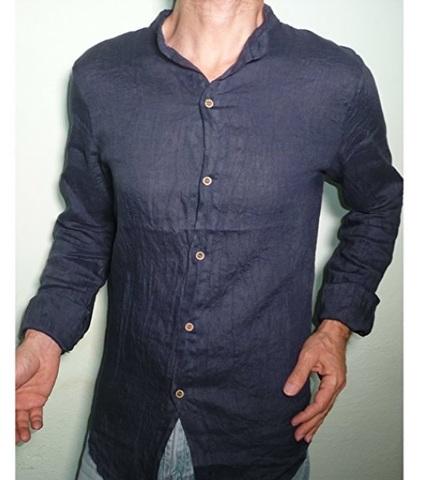 Collo Coreana Camicia In Lino