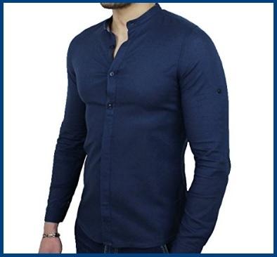 Camicia Coreana Lino Uomo