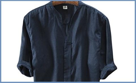 Camicia Coreana Blu Lino