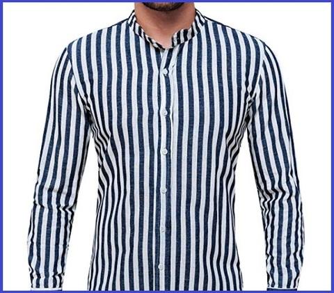 Camicia Coreana A Righe Uomo