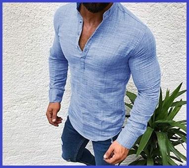 Camicia Coreana Lino Uomo Slim Fit