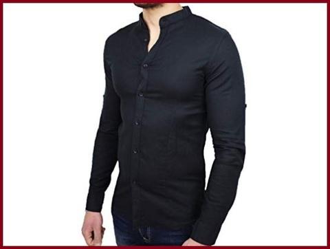 Camicia Coreana Nera Lino