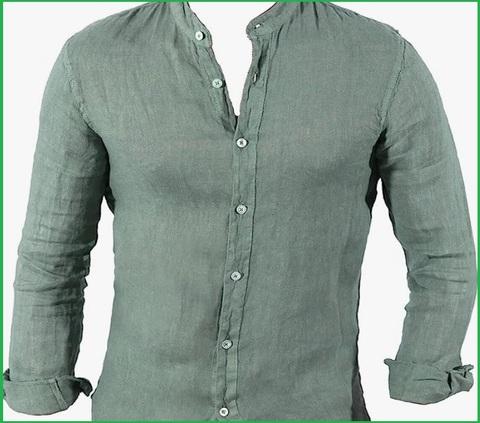 Camicia Coreana Verde Uomo