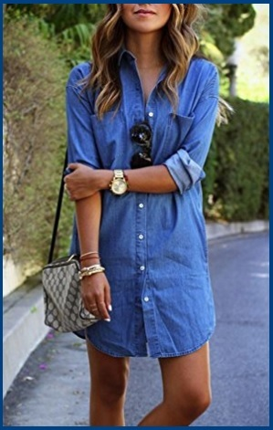 Camicia Jeans Donna Lunga