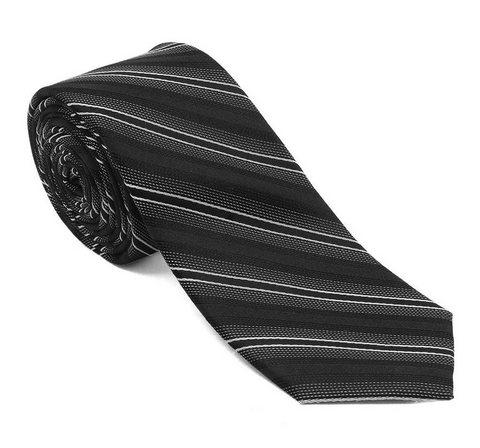 Cravatta per uomo colore scuro a righe in diagonale