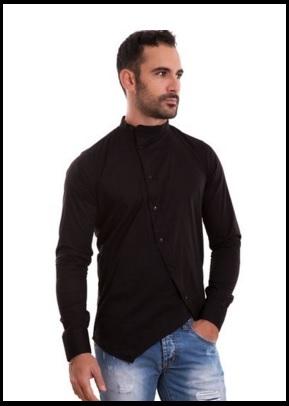 Camicia Uomo Coreana Asimmetrica