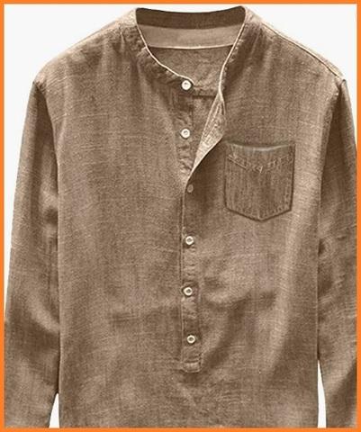 Camicia Uomo Collo Coreana In Lino Sabbia