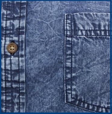Camicia Jeans Casual Uomo Con Manica Corta E Taschino