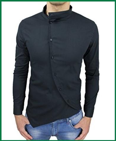 Camicia coreana nera uomo