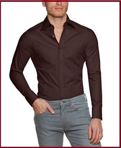 Camicia marrone uomo regular