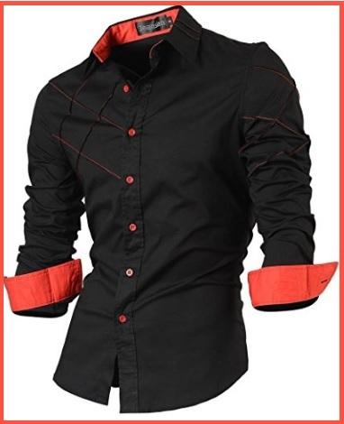 Camicia nera polsino rosso