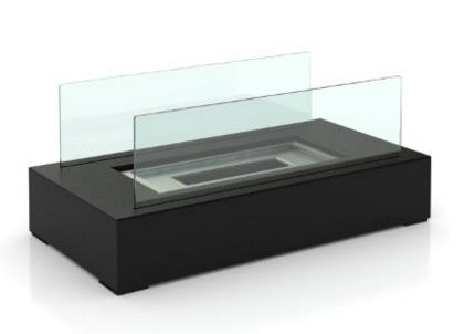 Caminetto per il tavolo con fiamma acciaio inox