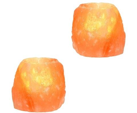 2 Portacandele Cristalli Di Sale Dell' Himalaya Naturale