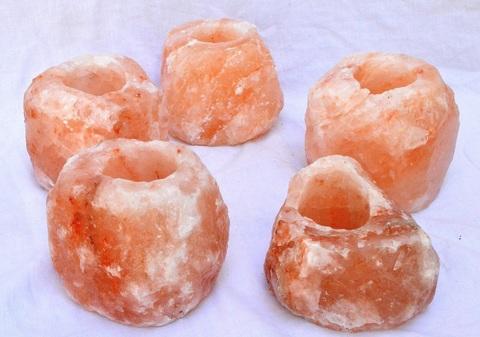 5 Porta Candele Cristalli Di Sale