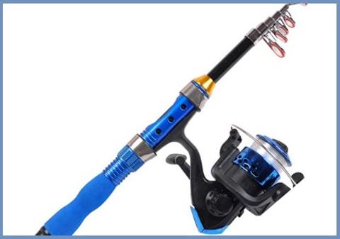Canna da pesca corta con mulinello