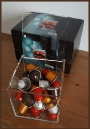Porta capsule nespresso in vetro quadrato