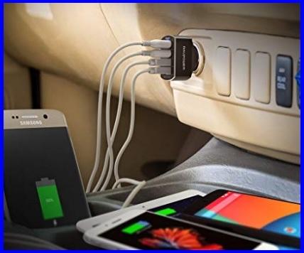 Caricabatteria auto usb 4 porte quick charge
