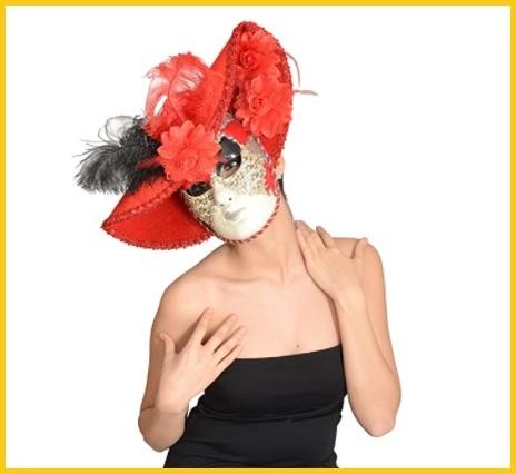 Maschera Veneziana Classica Bianca E Rossa