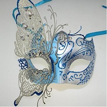 Maschera veneziana lucida e in metallo