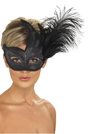 Maschera veneziana colombina con piuma grande