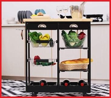 Carrelli cucina nero con cassetti