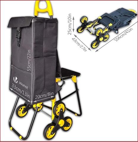 Carrello spesa 3 ruote con sedile