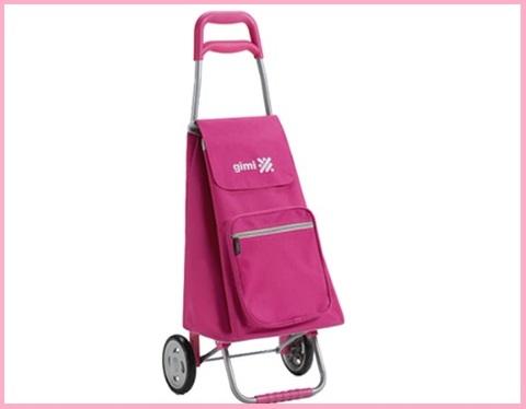 Carrello spesa pieghevole rosa