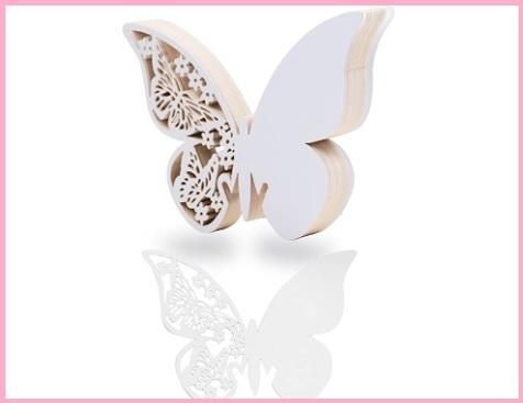 Segnaposto Farfalla Bianco Perlato