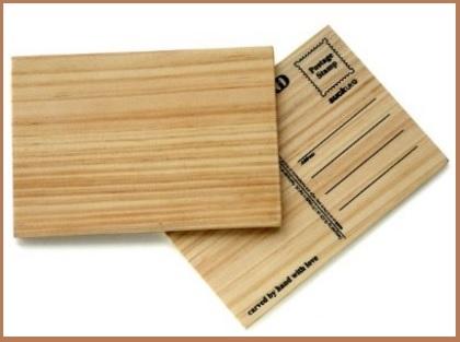 Cartoline postali in legno