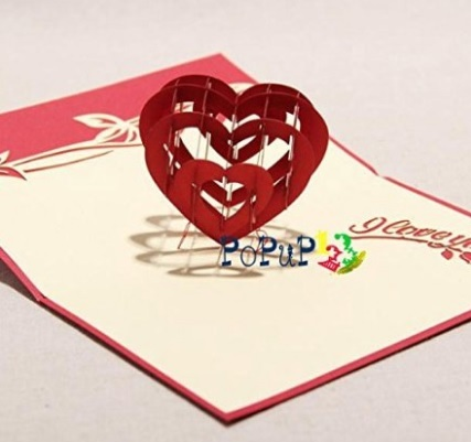 Cartoline 3d cuore pop up per compleanno