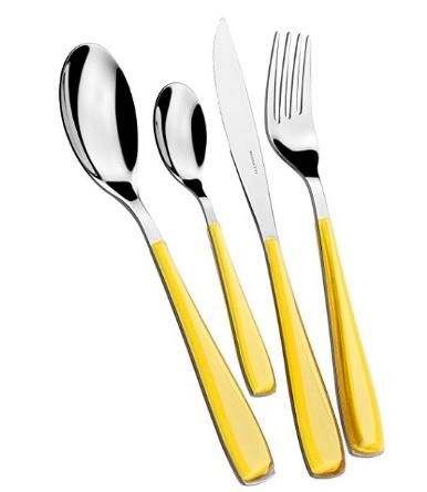 Servizio di posate casalinghe stell dal colore giallo