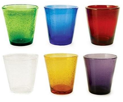 Bicchieri in vetro soffiato colorati