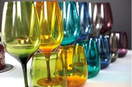 Bicchieri colorati in vetro 6 pezzi per l'acqua