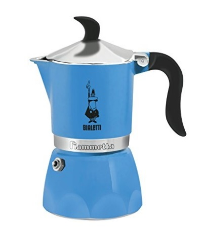Caffettiera bialetti dal colore azzurro