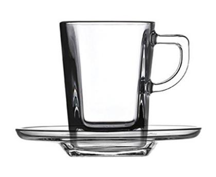 Tazzine trasparenti in vetro con piattino 6 pezzi
